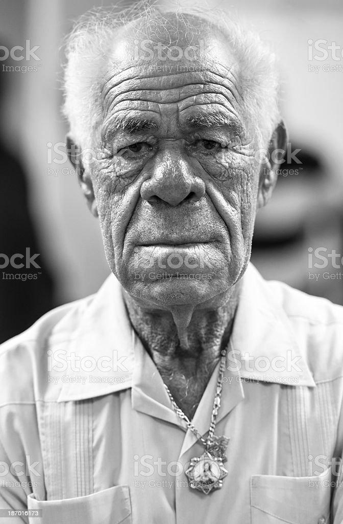 Head shot of an elderly Hispanic man royalty-free stock photo