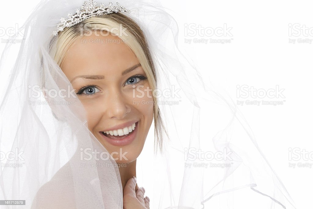 Head shot of bride in white veil royalty-free stock photo