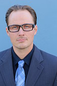 Head shot of businessman wearing glasses