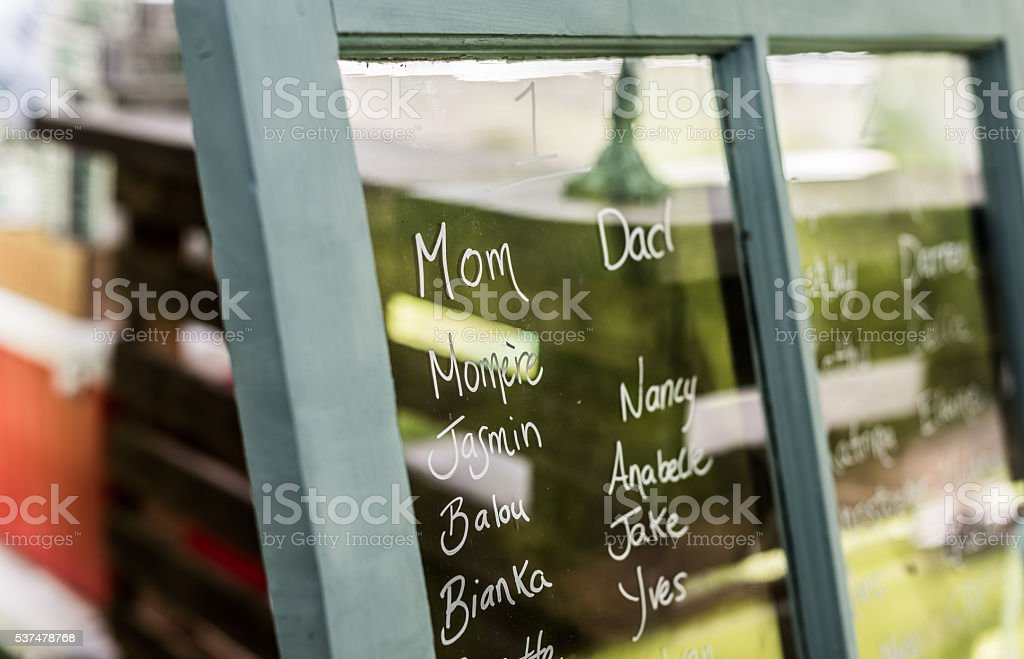 Head Table:  names on a window form a seating plan. stock photo