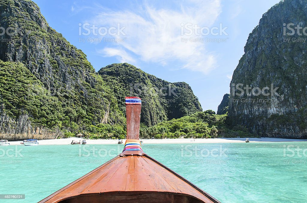 Head Traditional longtail boat stock photo