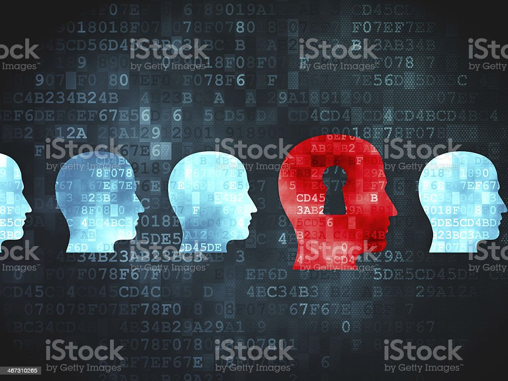 Head with a keyhole surrounded by other digital heads stock photo