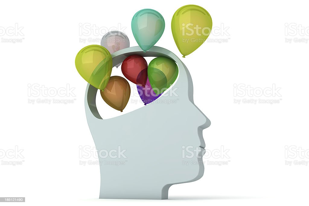 Head with Balloons royalty-free stock photo