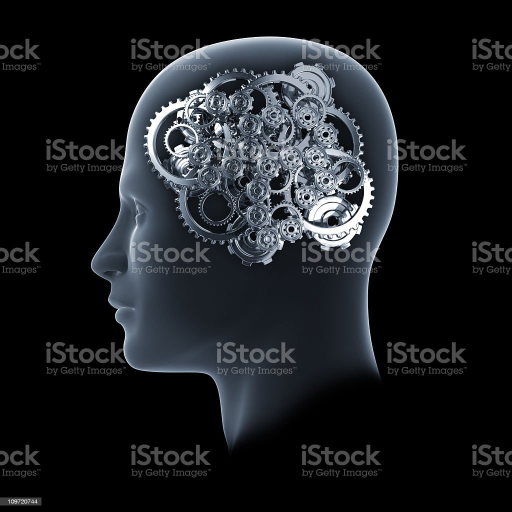 Head with cogs and gears on black stock photo