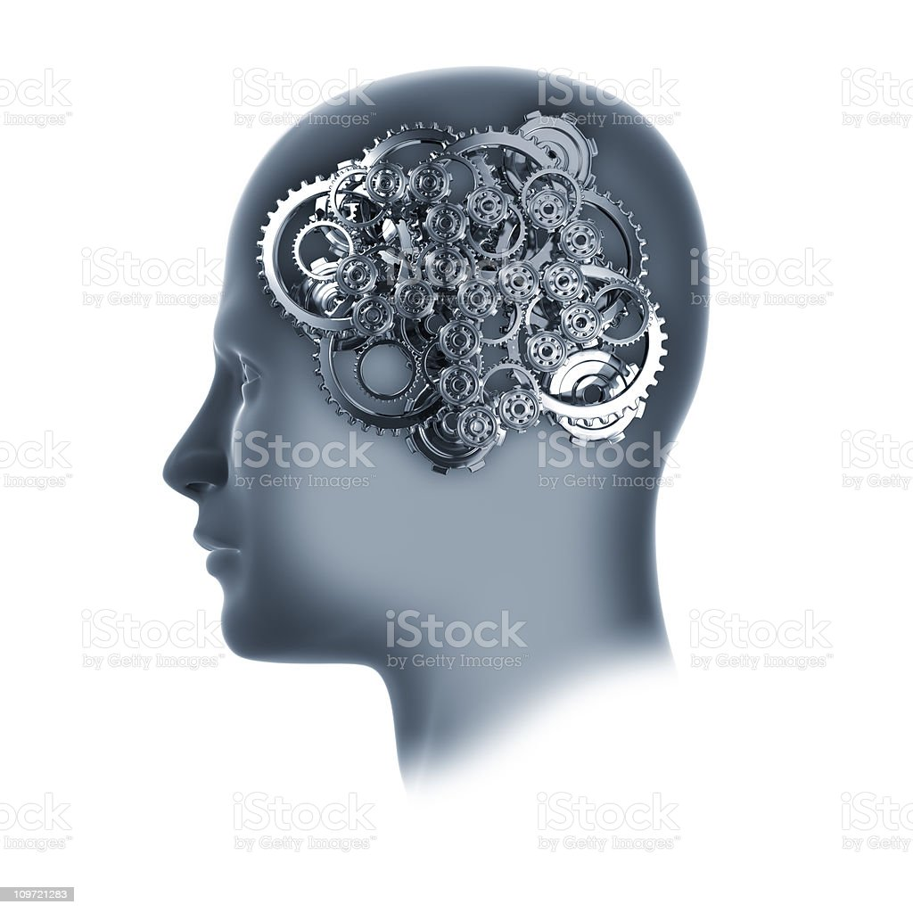 Head with cogs and gears on white royalty-free stock photo