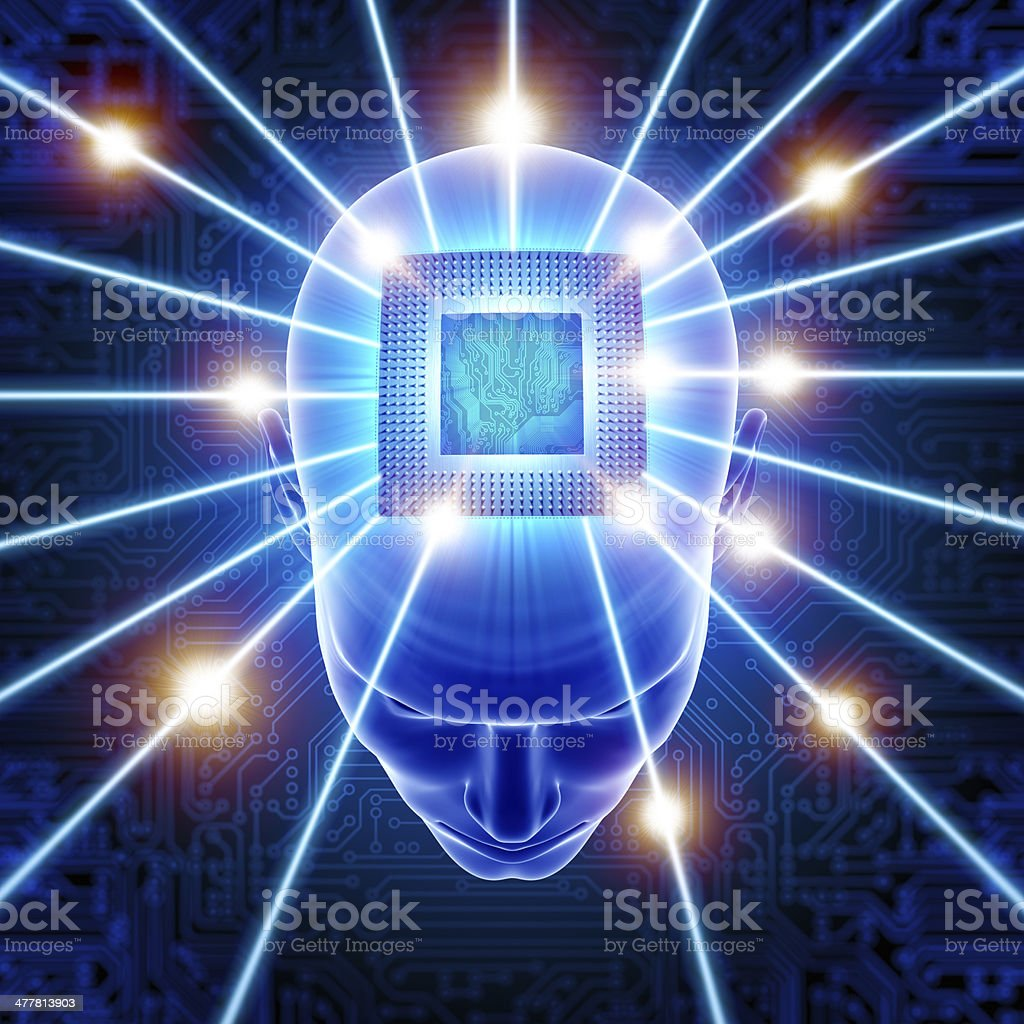 Head with CPU circuit hi-tech cyber theme royalty-free stock photo