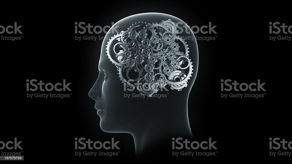 Head with gears and cogs stock photo
