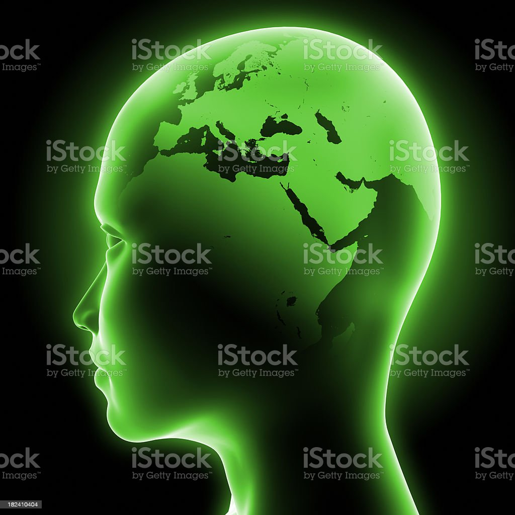 Head world map - Clipping path included royalty-free stock photo