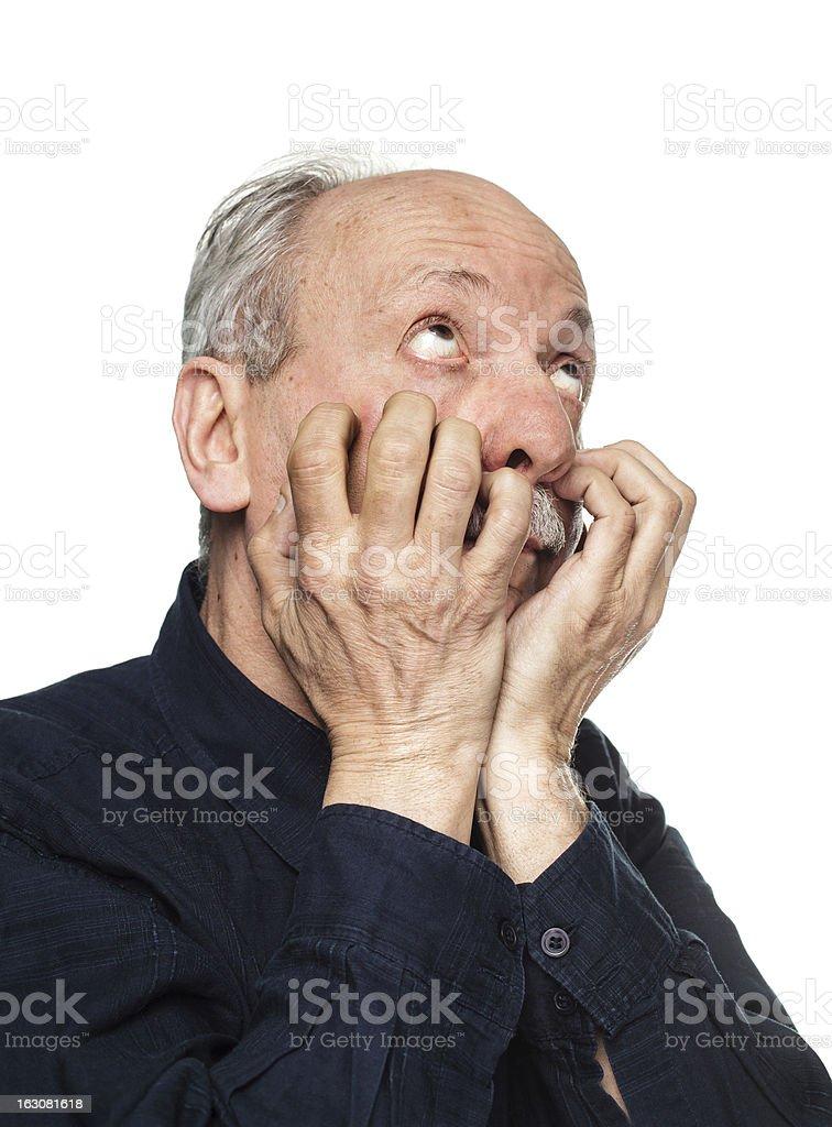 Headache. Elderly man royalty-free stock photo