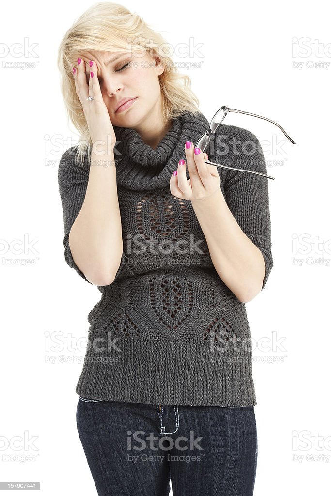 Headache from Glasses royalty-free stock photo
