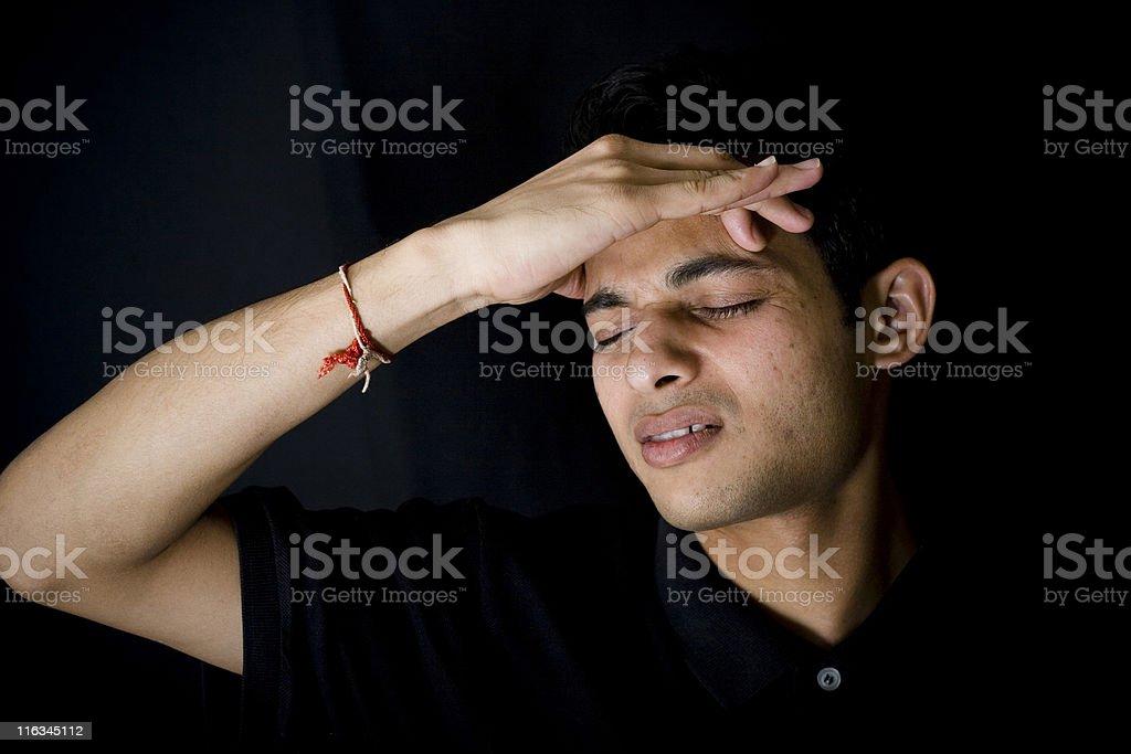 Headache Horizontal Black Portrait One Indian Youth Man Male Pain royalty-free stock photo