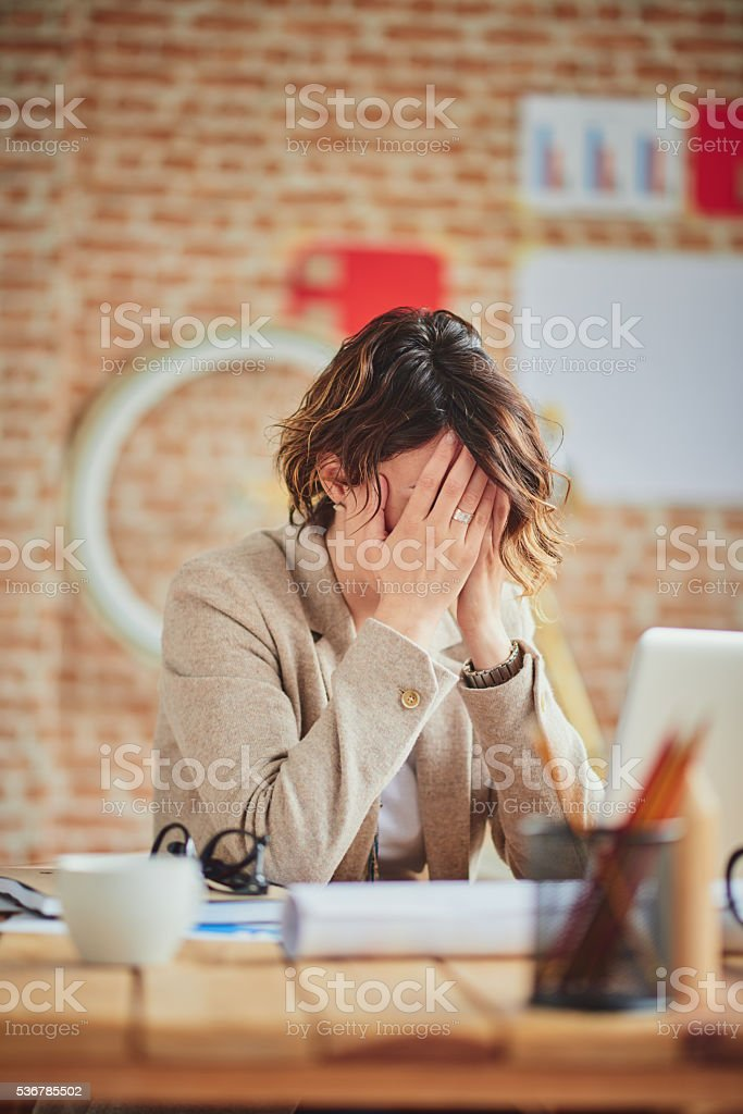 Headache In Office stock photo