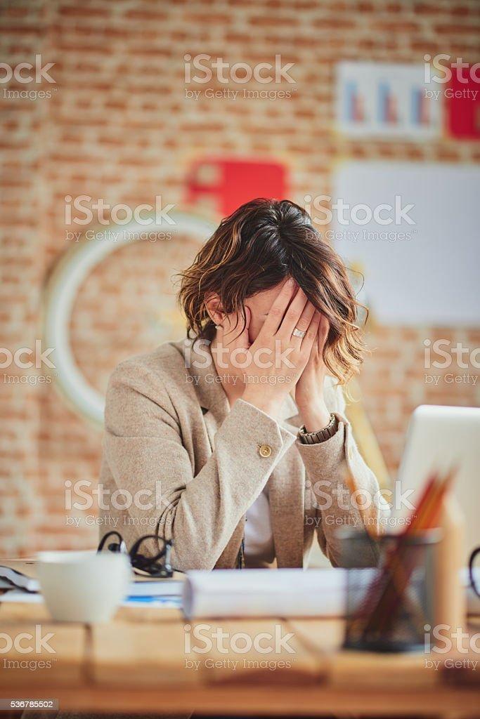 Headache In Office stock photo