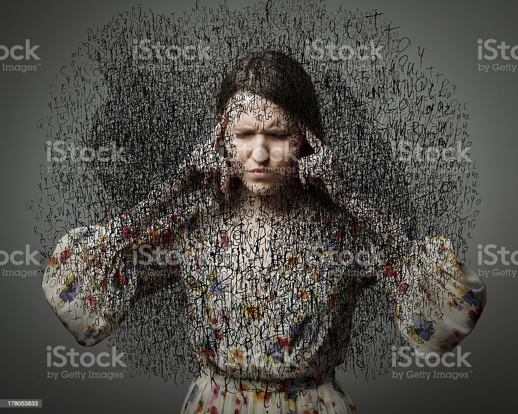 Headache. Obsession. Dark thoughts. stock photo