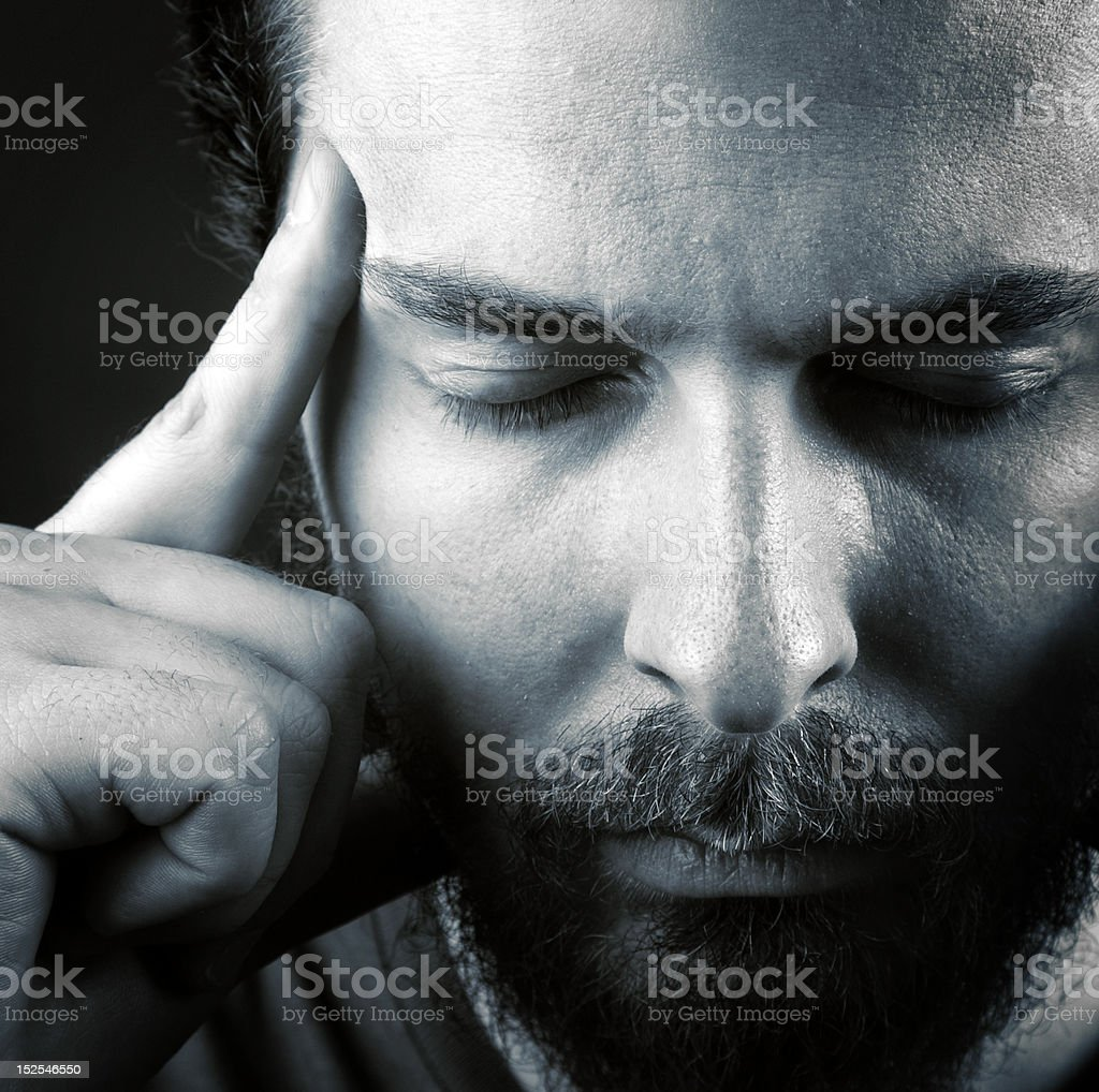 Headache or think meditation concept royalty-free stock photo