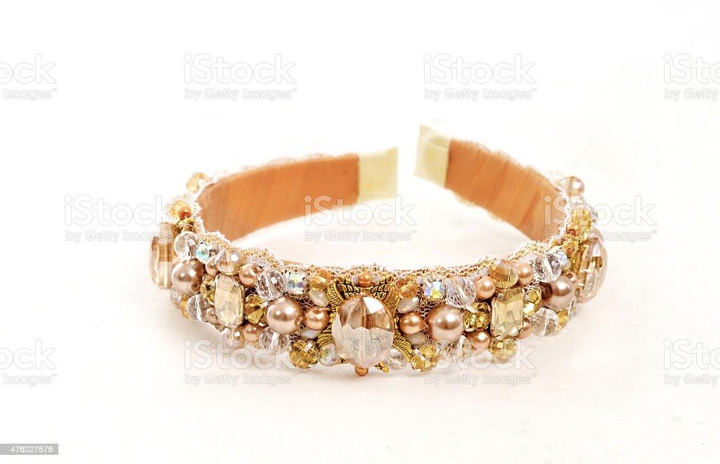 Headband for hair, handmade treasure with stones for female stock photo