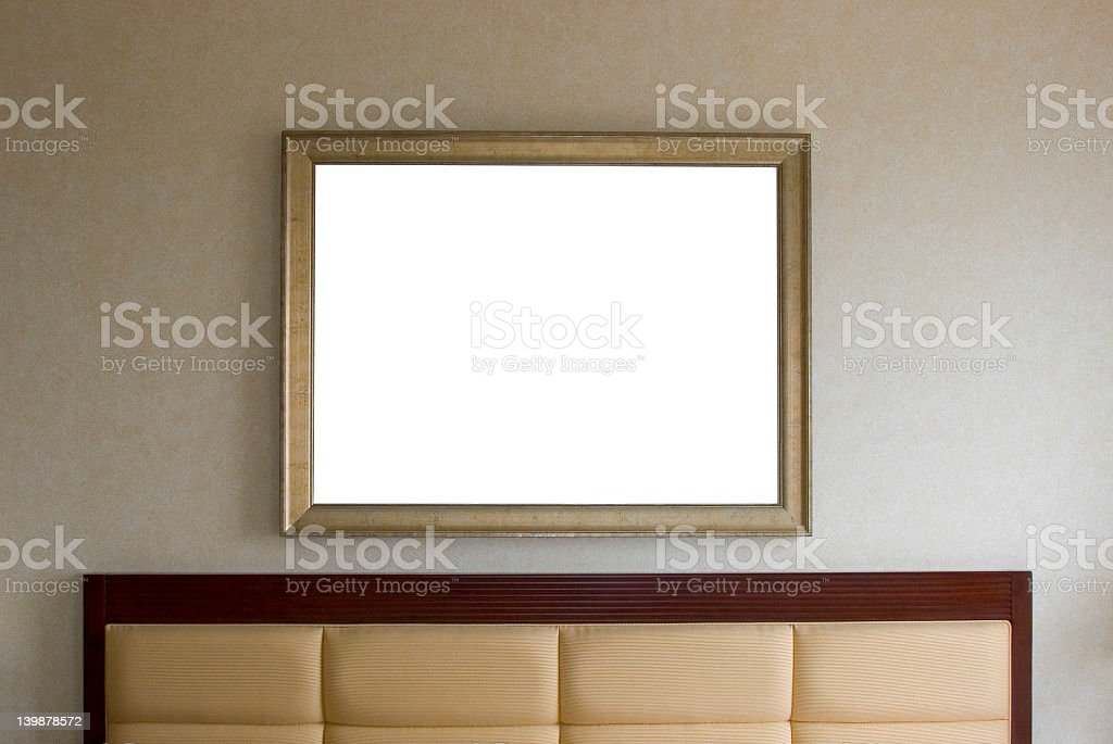 Headboard and picture frame stock photo
