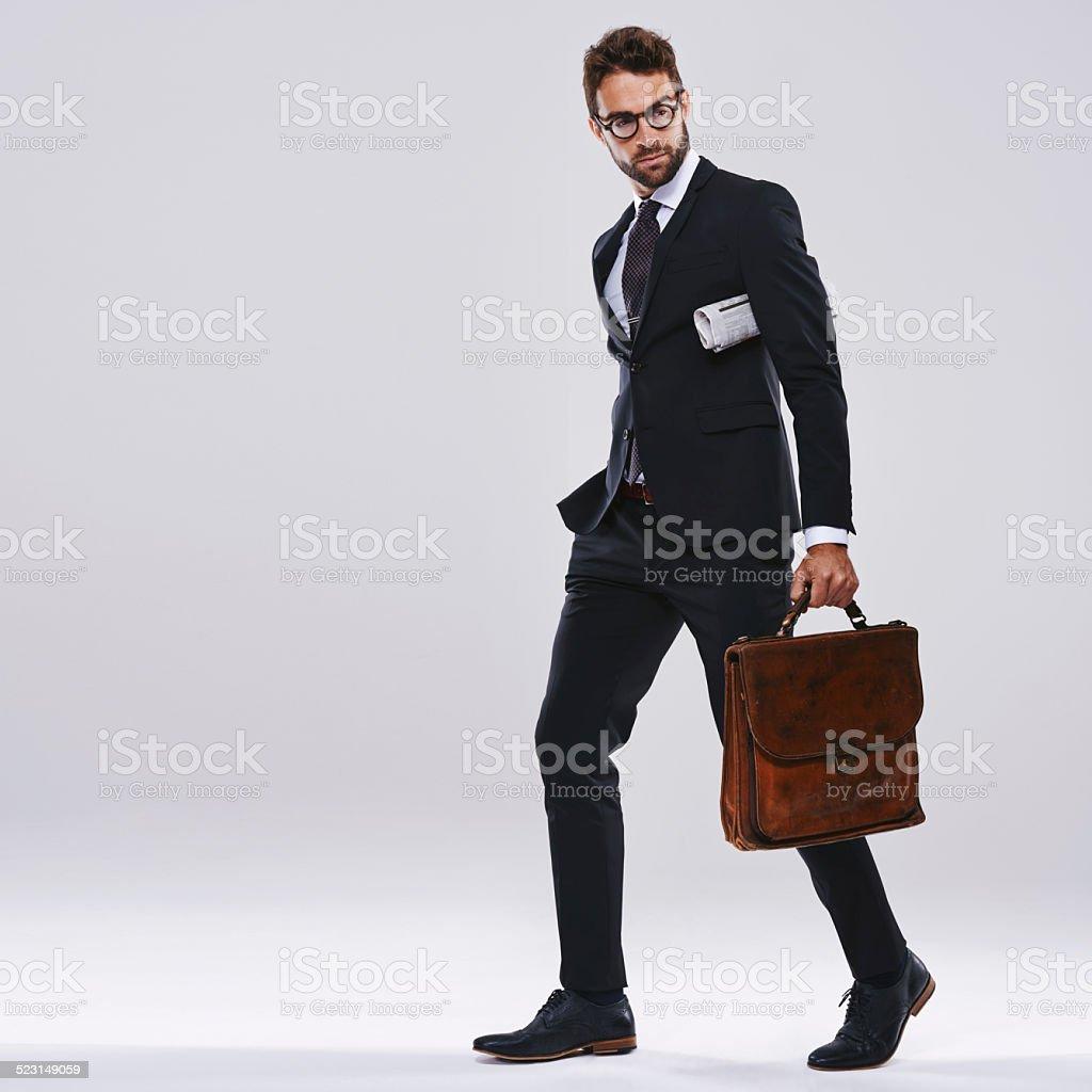 Headed to work stock photo