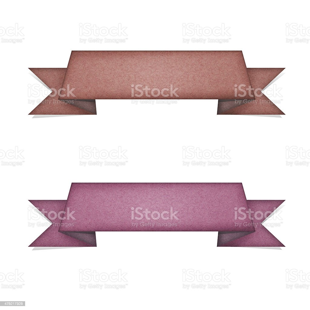 Header tag recycled paper on white background stock photo