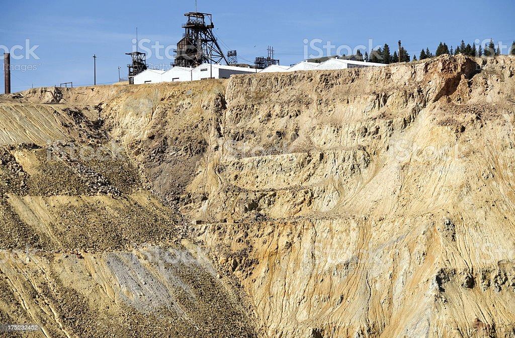 Headframe above copper mine in Montana stock photo