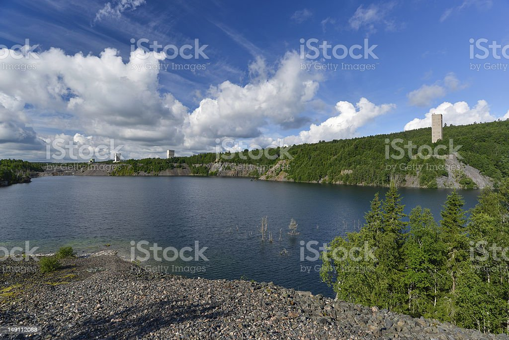Headframe, Artificial lake caused by mining royalty-free stock photo
