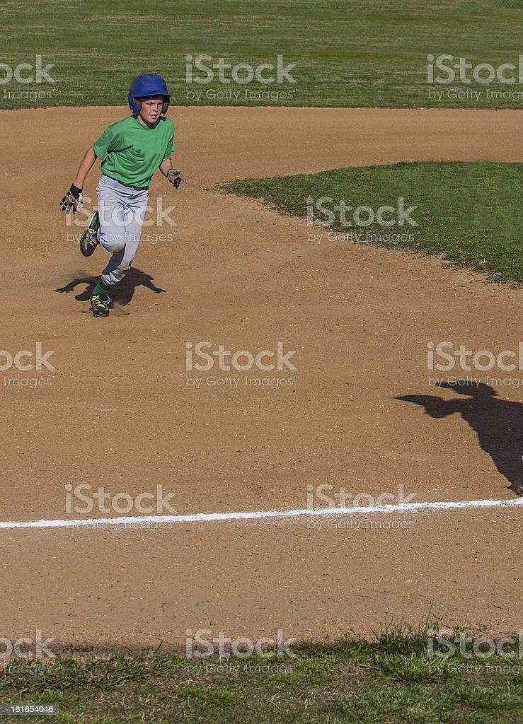 Heading into third base stock photo