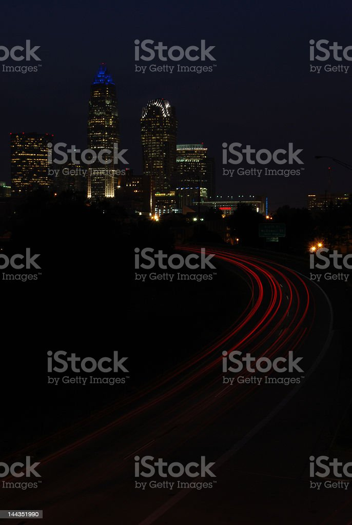 Heading to City at night stock photo