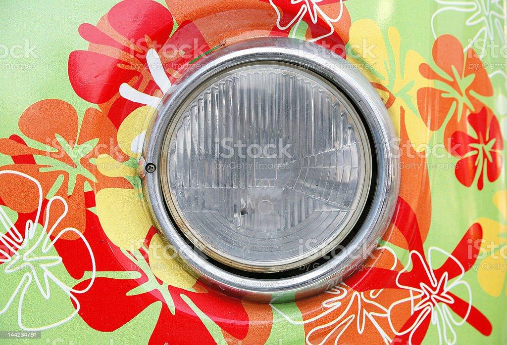headlamp of hippie car stock photo
