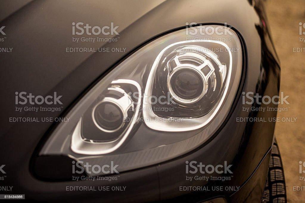 Headlamp of Porsche Cayenne stock photo
