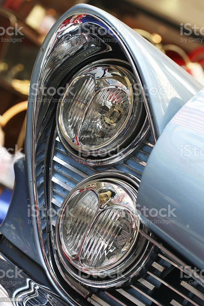 Headlamp of vintage U.S. car royalty-free stock photo