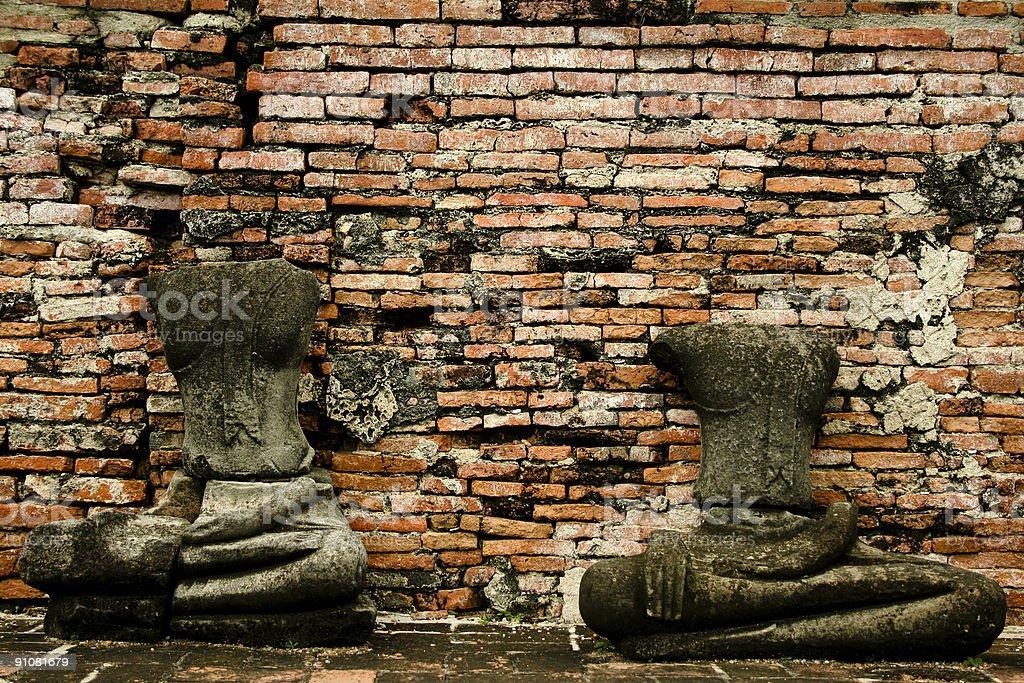 headless Ayuthaya buddhas thailand royalty-free stock photo