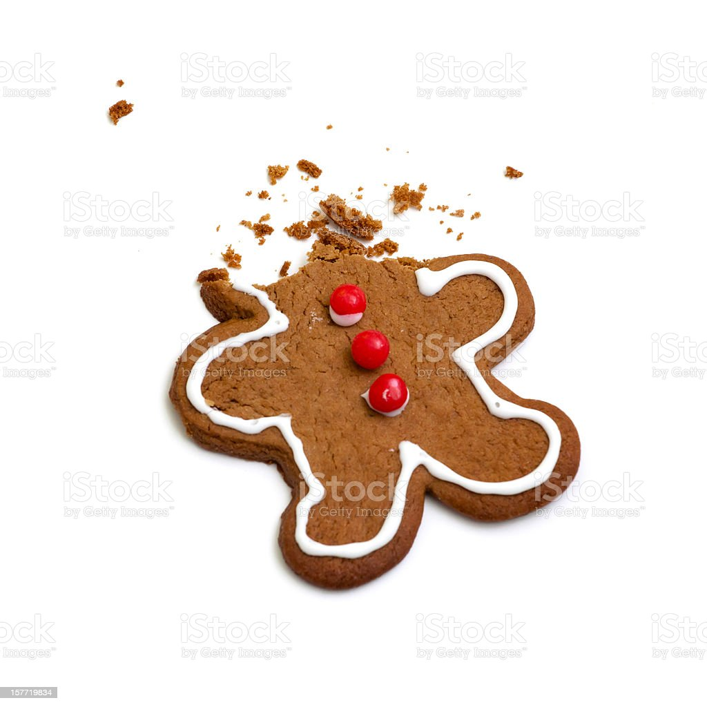 Headless Gingerbread Man Isolated on White Background royalty-free stock photo