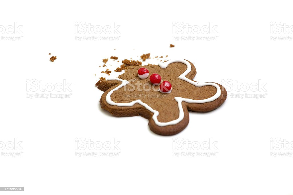 Headless gingerbread man isolated on white background stock photo