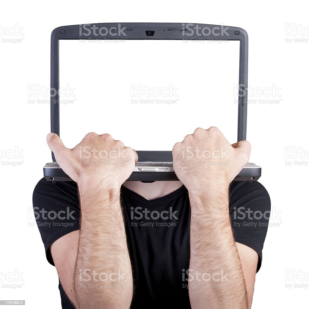 Headless man typing on the notebook keyboard royalty-free stock photo