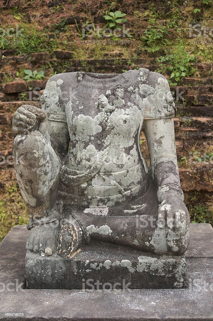 Headless statue, Cham Ruins, My Son, Vietnam stock photo