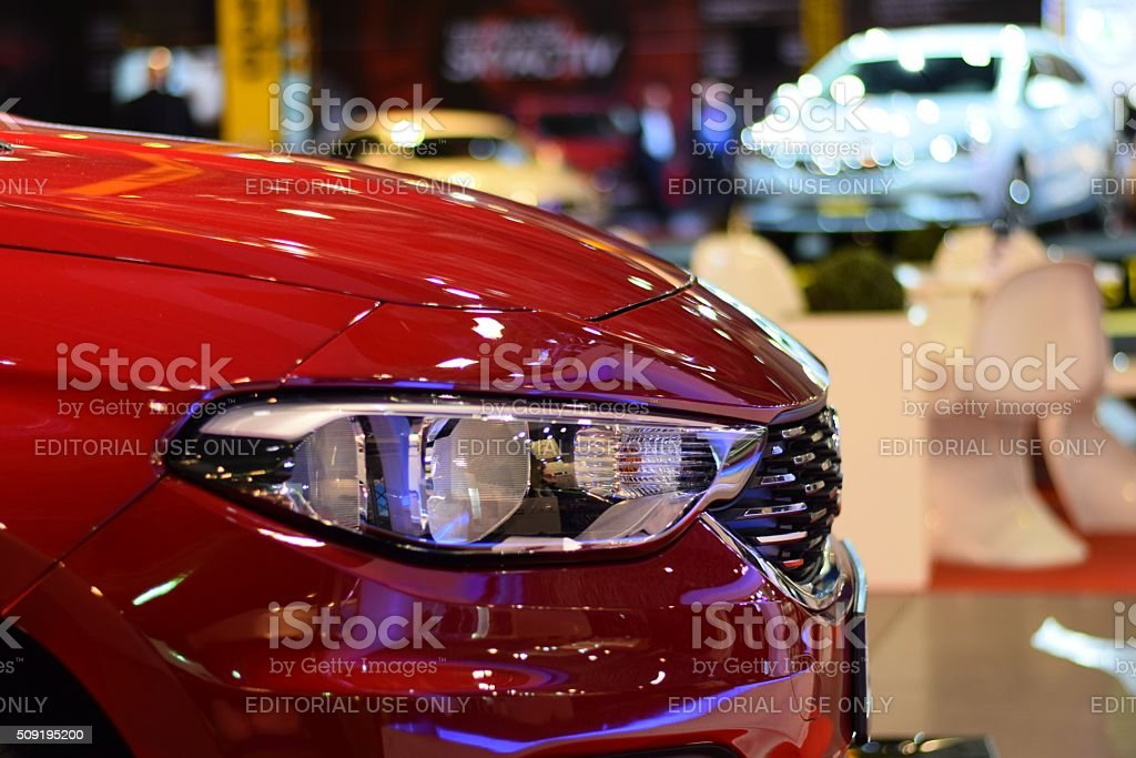 Headlight in a modern car on the motor show stock photo