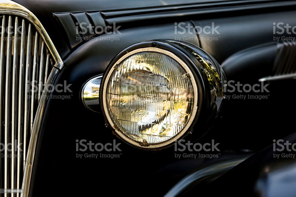 Headlight on an old American Coupe stock photo