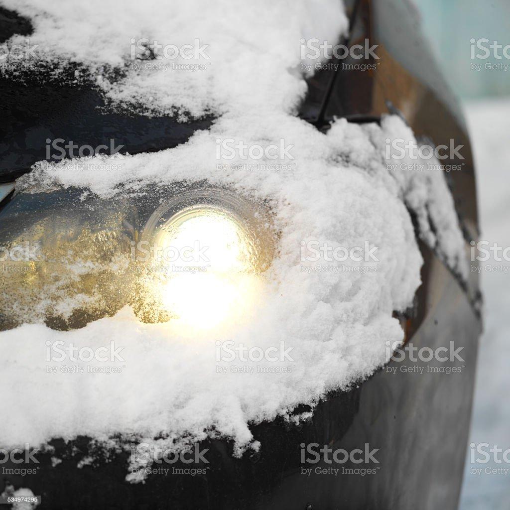 Headlight Under Snow stock photo