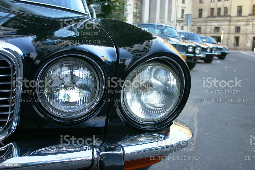 Headlights in classic Jaguar stock photo
