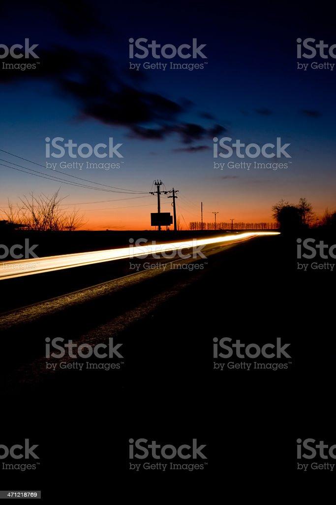 Headlight's trail royalty-free stock photo