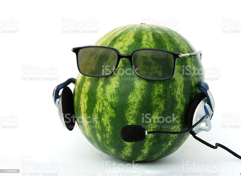 head-like watermelon in  headphone and eyeglasses royalty-free stock photo