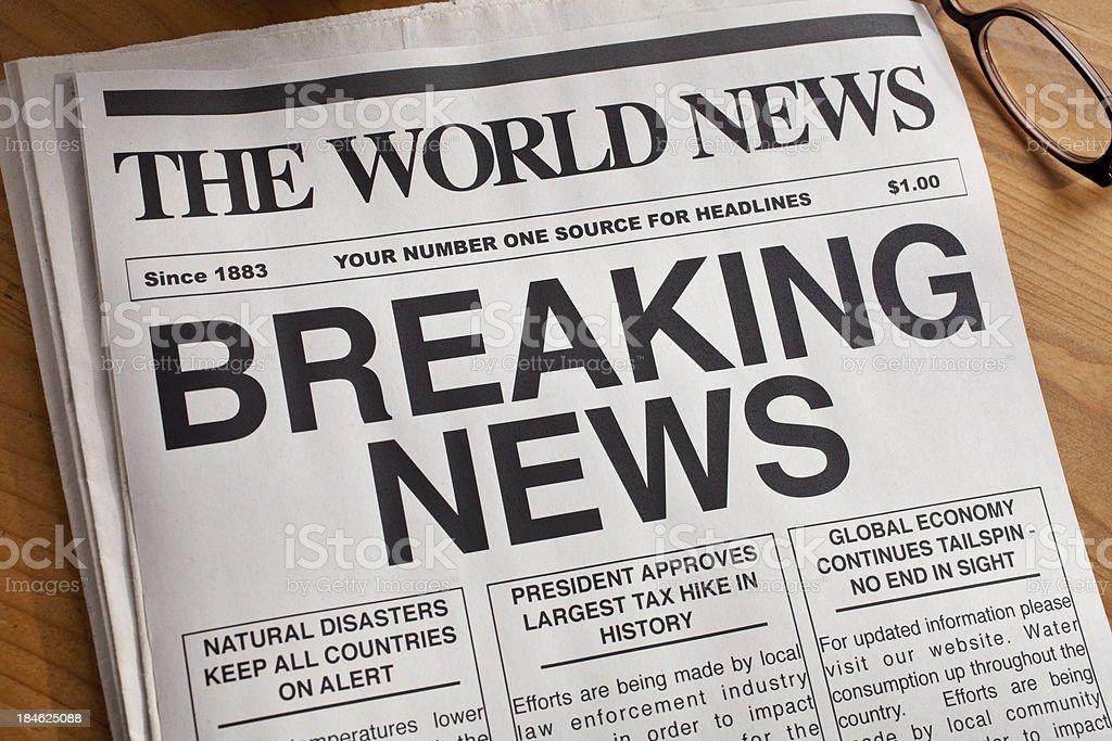 BREAKING NEWS Headline stock photo