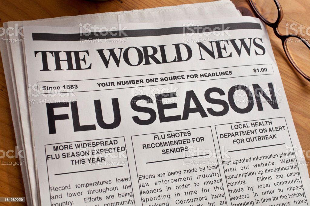 FLU SEASON Headline stock photo