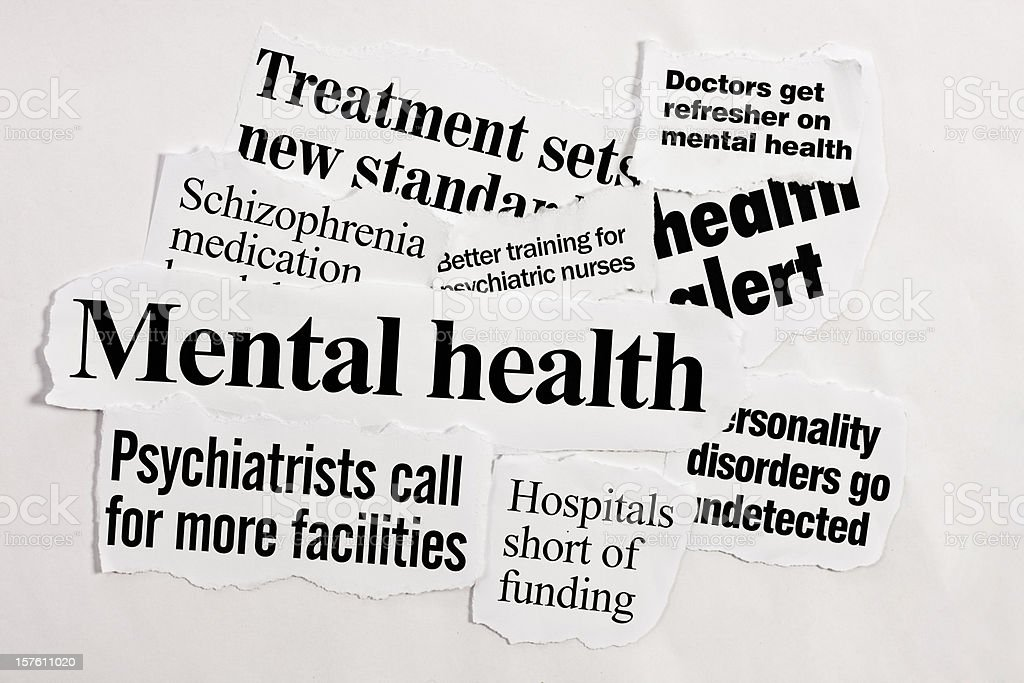 Headlines about mental health royalty-free stock photo