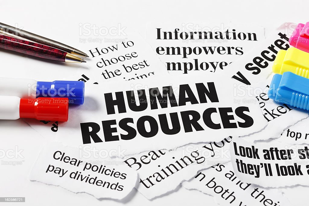 Headlines on Human Resources and employment issues, with pens royalty-free stock photo