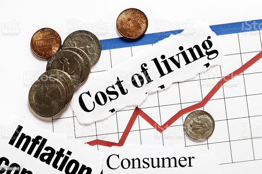 Headlines on inflation and rising graph with small change royalty-free stock photo