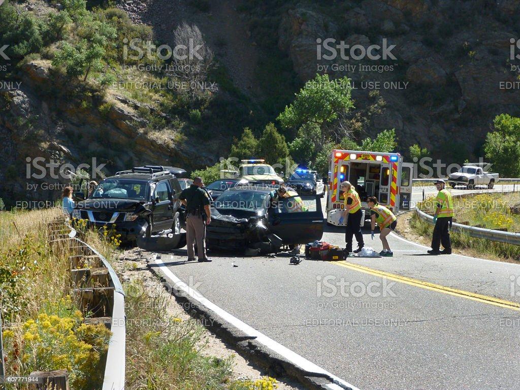 Head-on car suv crash emergency Bear Creek Canyon Morrison Colorado stock photo