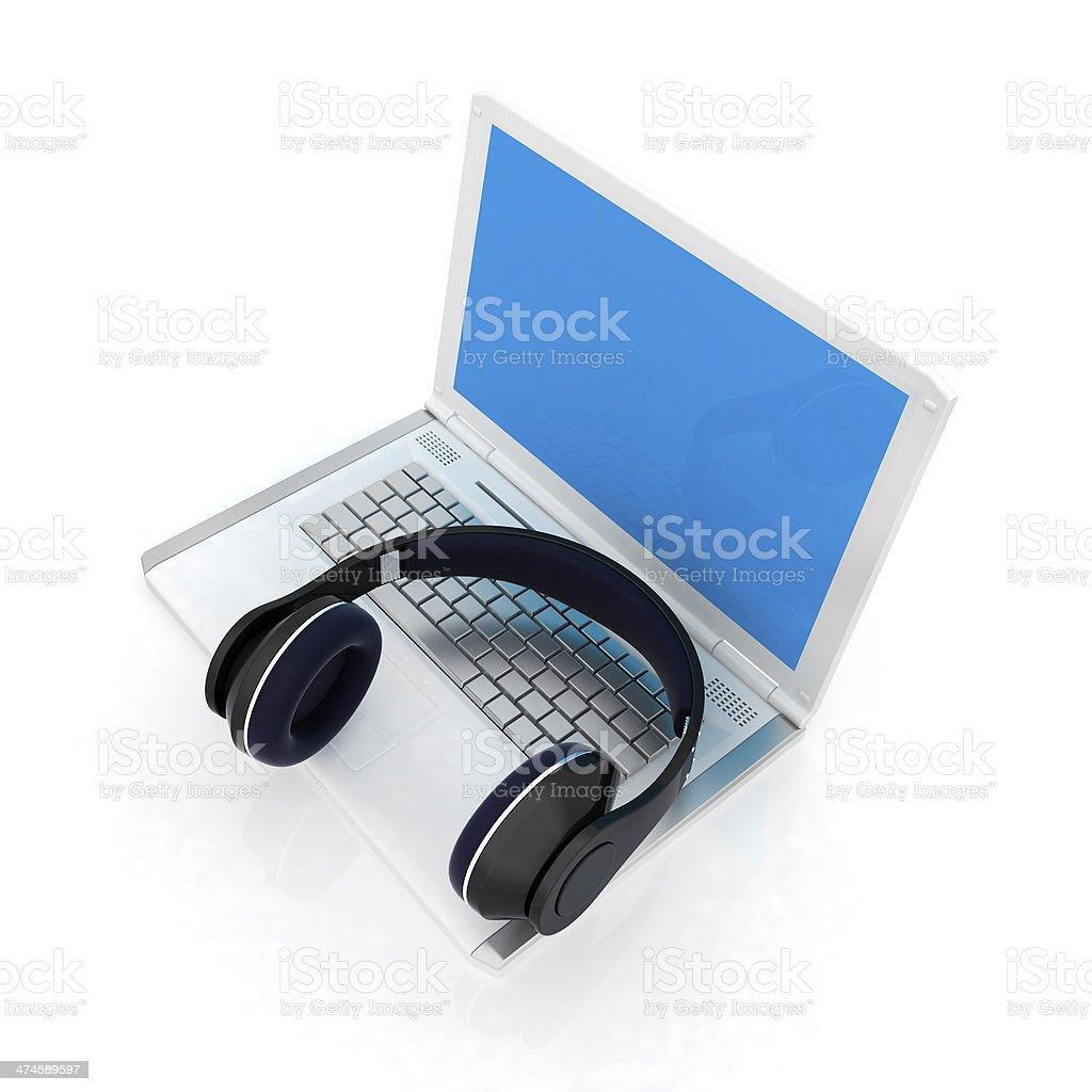 Headphone and Laptop stock photo