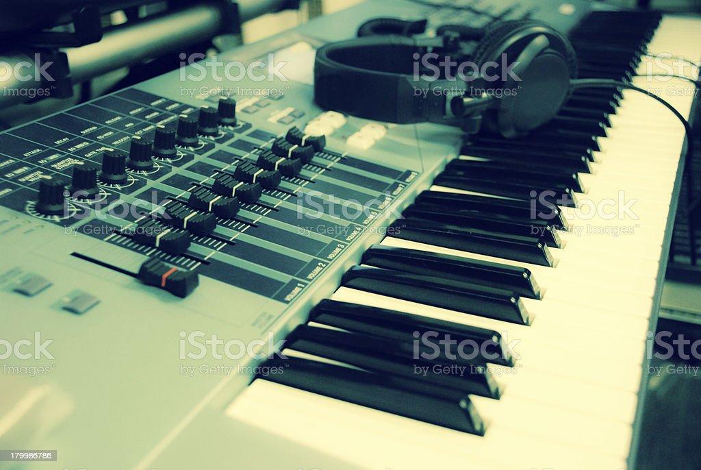 headphone at keyboard royalty-free stock photo