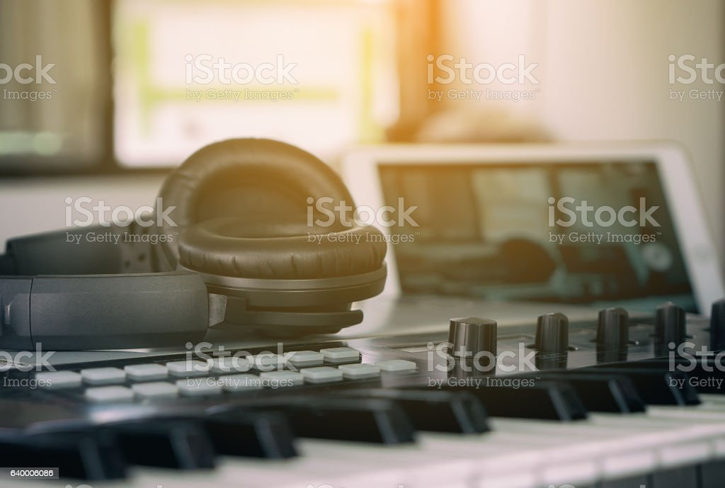 Headphone for home music studio set up stock photo